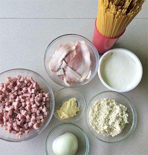 Ingredientes de la Receta de espaguetis a la carbonara nata