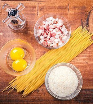 Receta italiana de pasta a la carbonara ingredientes